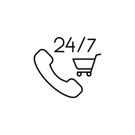 E-commerce phone, grocery cart outline vector icon.