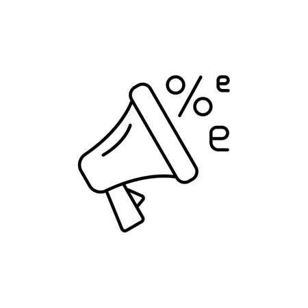 E-commerce megaphone, speaker, discount outline vector icon.