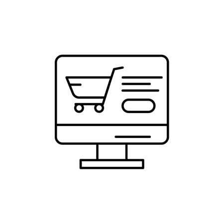 E-commerce monitor, grocery cart, button outline vector icon. 矢量图像