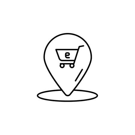 E-commerce location, grocery cart outline vector icon. 矢量图像
