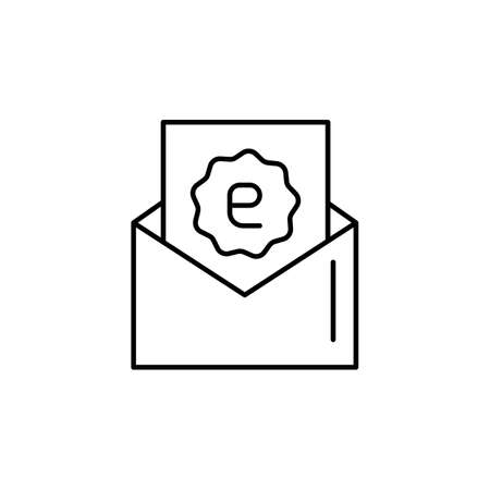 E-commerce mail, discount, letter outline vector icon.
