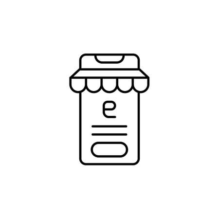 E-commerce smartphone, button, store outline vector icon. 矢量图像