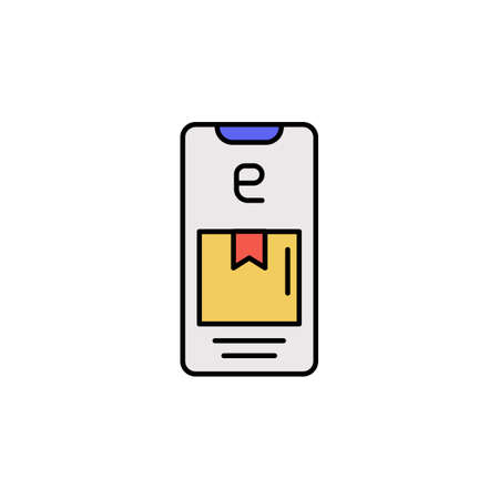E-commerce smartphone, box, delivery color vector icon.