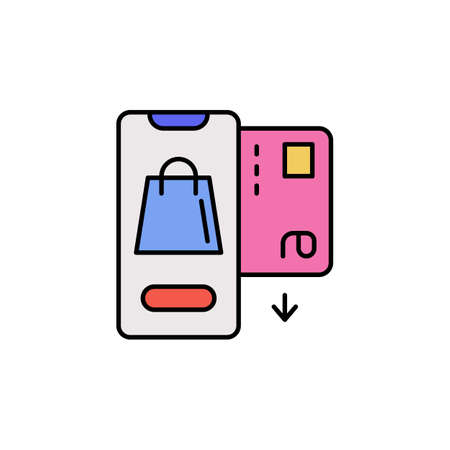 E-commerce smartphone, car, package color vector icon.