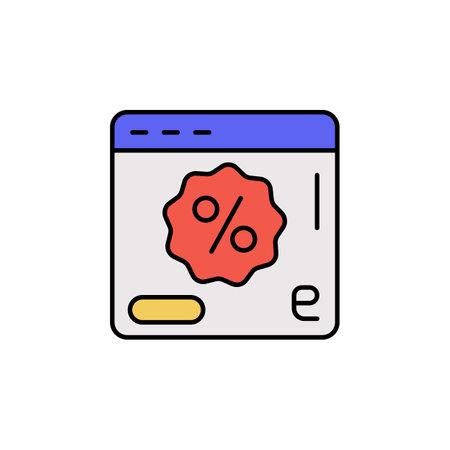 E-commerce web site, page, discount, button color vector icon. 矢量图像
