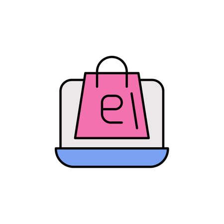 E-commerce laptop, package color vector icon. 矢量图像