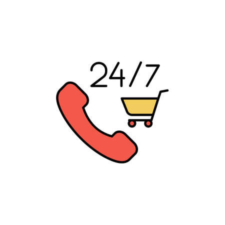 E-commerce phone, grocery cart color vector icon.
