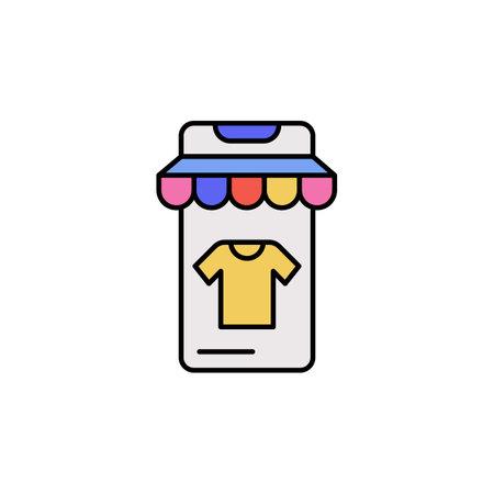 E-commerce smartphone, store, t shit color vector icon.