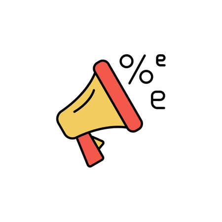 E-commerce megaphone, speaker, discount color vector icon.