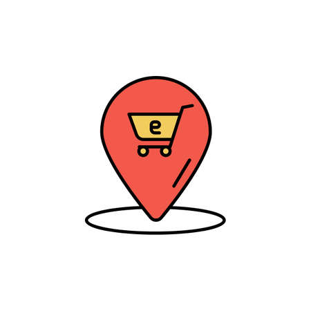 E-commerce location, grocery cart color vector icon.