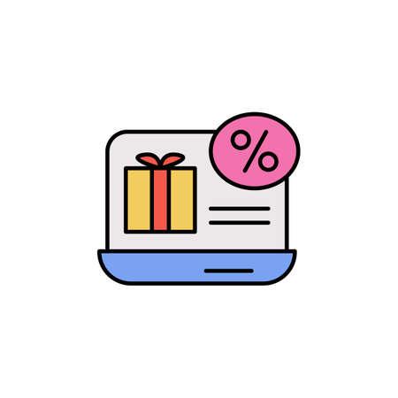 E-commerce laptop, giftbox, discount color vector icon 矢量图像
