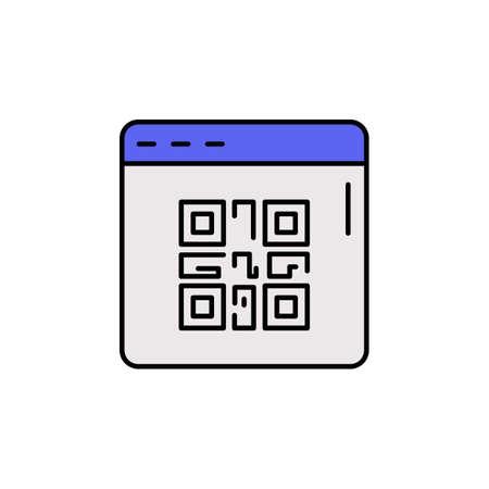 E-commerce QR code, web site, page color vector icon.