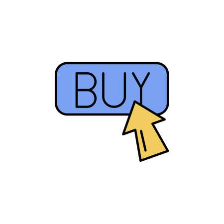 E-commerce button, arrow color vector icon.