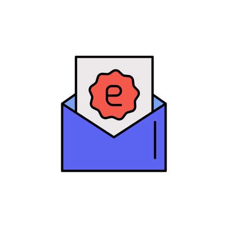 E-commerce mail, discount, letter color vector icon.