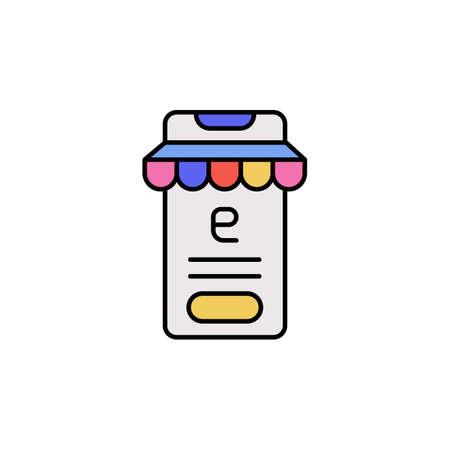 E-commerce smartphone, button, store color vector icon.