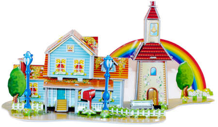 Beautiful, colored toy house. Isolated object. photo