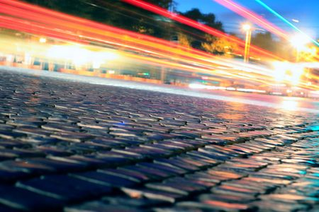 City road in the middle of the night. Traffic Stock Photo - 8348033