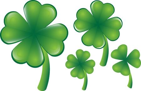 four fourleaf: Trifoglio vettoriale, diverse versioni, quattro o tre foglie. Possono essere scalled individualmente a qualsiasi dimensione desiderata.
