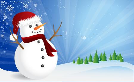 Winter scene, happy snowman Vector