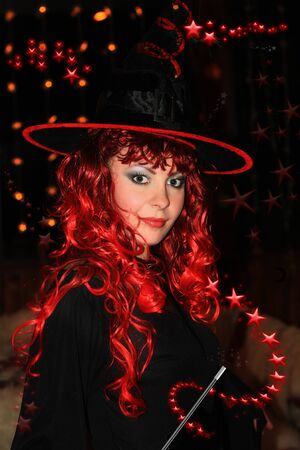spells: Beautiful witch ready for spells and incantations