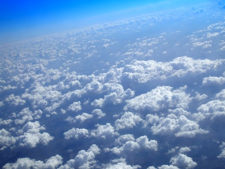 Earth from the space, view from the top of the clouds. Stock Photo