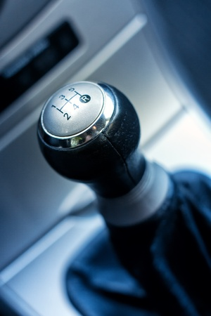 levers: Vehicle shift gear close up. Stock Photo