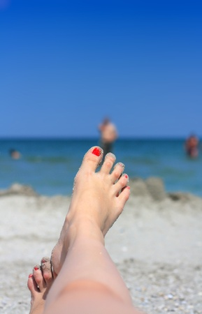 Beach view, relaxing in the sun. photo