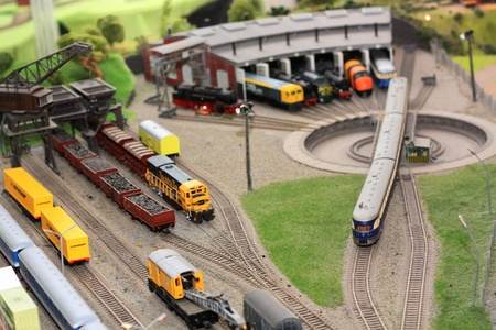 Realistic toy trains garage depot. Stock Photo - 10549004