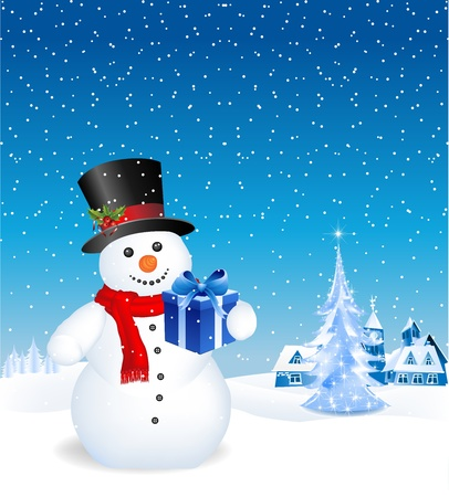 This image is a vector file representing a 3d happy snowman with a gift,  all the elements can be scaled to any size without loss of resolution.