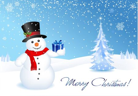 This image is a vector file representing a 3d happy snowman with a gift,  all the elements can be scaled to any size without loss of resolution. Vector