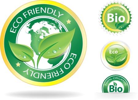 Ten obraz jest plik wektorowy reprezentujący zbiór 4 odznaki eko / bio, wszystkie elementy mogą być skalowane do dowolnej wielkości bez utraty rozdzielczości.