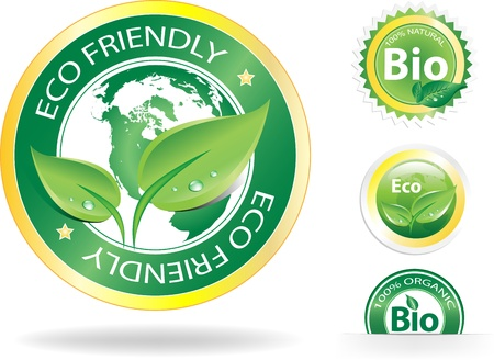 This image is a vector file representing a collection of 4 ecobio badges,  all the elements can be scaled to any size without loss of resolution.