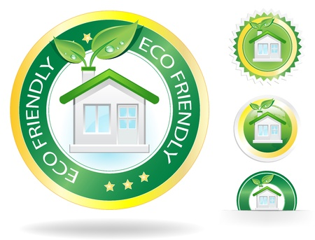 This image is a vector file representing a eco house label concept,  all the elements can be scaled to any size without loss of resolution.