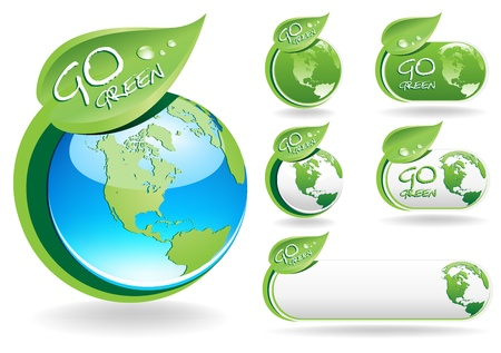 go green icons: This image is a vector file representing a collection of