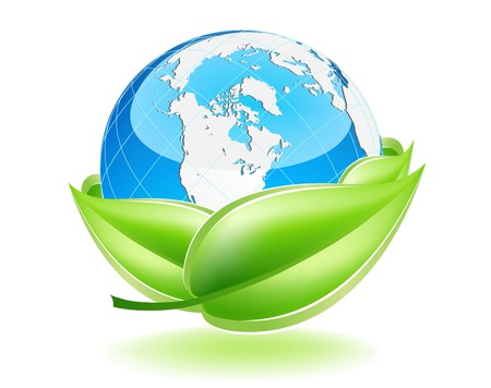 This image is a vector file representing a 3d Earth Globe in a leaf nest,  all the elements can be scaled to any size without loss of resolution. Vector