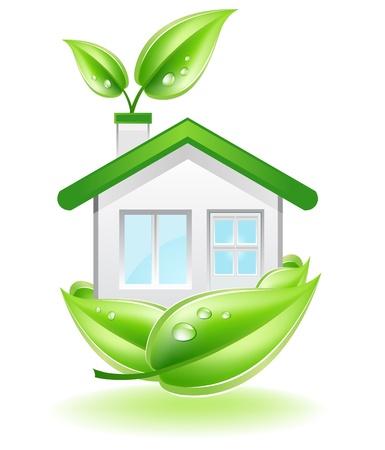 Esta imagen es un archivo de vector que representa una casa ecológica en un nido de hojas, todos los elementos que pueden ser escalados a cualquier tamaño sin pérdida de resolución.