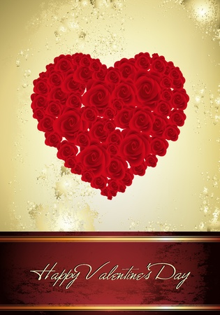 This image is a vector file representing a Vintage Valentine Card,  all the elements can be scaled to any size without loss of resolution. Stock Vector - 11994627
