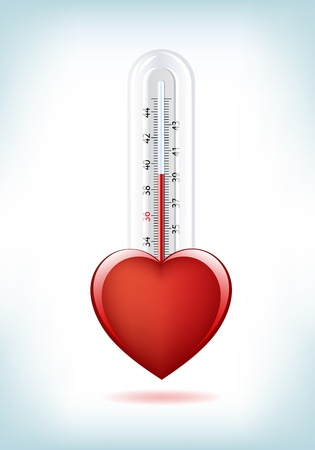 This image is a vector file representing a 3d Heart Thermometer,  all the elements can be scaled to any size without loss of resolution.
