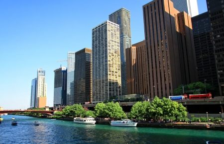 View of Chicago skyscrapers from the river