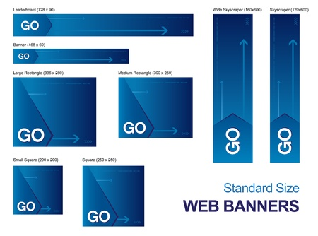Standard size web banners collection, all the elements can be scaled to any size without loss of resolution.