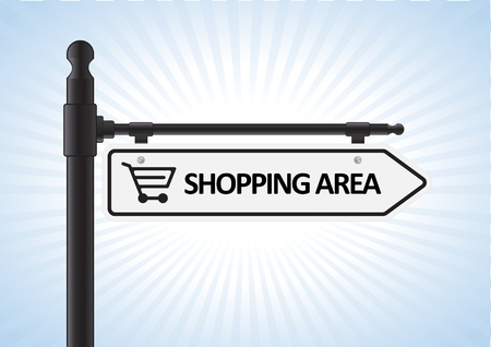 gift basket: This image is a vector illustration representing a shopping direction sign what can be scaled to any size without loss of resolution.  Illustration
