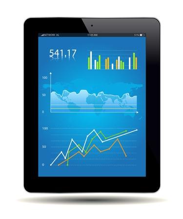 스프레드 시트: 태블릿에 대한 재무 분석 데이터. 벡터 파일입니다.