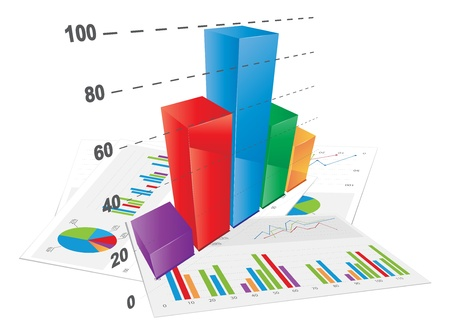 3D Bar Chart, vector file  Vector