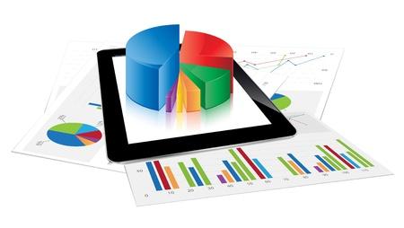 hoja de calculo: Tablet con gráfico circular 3D Vectores