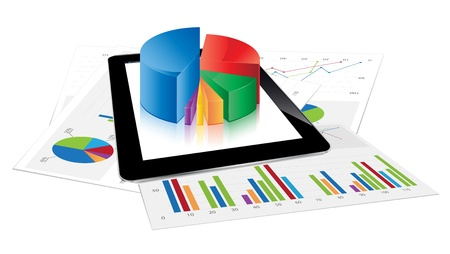 financial report: Tablet with 3d pie chart