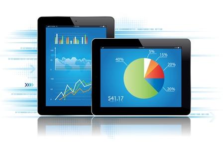 Tablet avec une illustration graphique des statistiques Vecteur