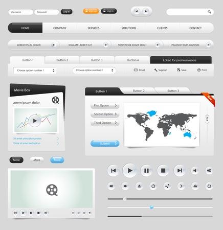 웹: 웹 요소 컬렉션을 설정합니다. 버튼, 슬라이더, 미디어 플레이어, 로그인, 스위처