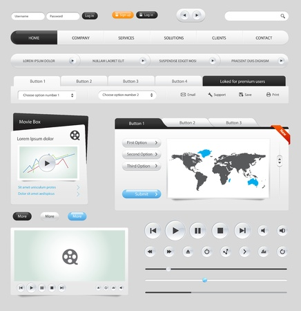 web navigation: Web elements collection set. Buttons, Sliders, Media Player, Login, Switchers Illustration