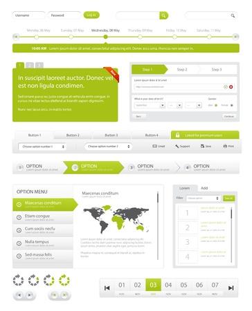 navegacion: Sitio Web de navegaci�n conjunto de recopilaci�n. Botones, deslizadores, Media Player, inicio de sesi�n, conmutadores Vectores