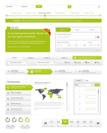 Website navigation collection set. Buttons, Sliders, Media Player, Login, Switchers Illustration